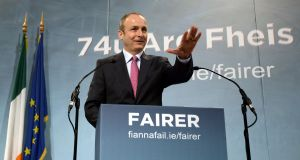 Fianna Fáil leader Micheál Martin during his opening speech at the 74th Fianna Fáil ardfheis at the RDS Dublin. Photograph: Brenda Fitzsimons/The Irish Times
