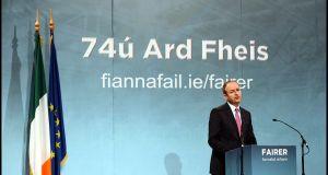 Fianna Fáil leader Micheál Martin during his opening speech of the 74th FF Ardfheis held at the RDS in Dublin. Photograph: Brenda Fitzsimons