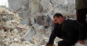 A man cries at a site hit by what activists said was a Scud missile in Aleppo's Ard al-Hamra neighbourhood, in this February 23rd file photograph. The US believes that Syria's regime has used chemical weapons. Photograph: Reuters