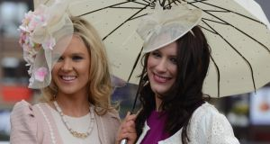 Charlene Kilroy and Eimear Cosgrove, from Naas, at Punchestown races yesterday. Photograph: Cyril Byrne