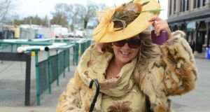Elizabeth Ann Egan, from Athlone, at Punchestown races yesterday. Photograph: Cyril Byrne