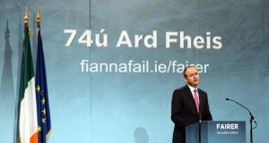 Fianna Fáil leader Micheál Martin gives the opening speech at the party's ardfheis last night. Photograph:   Brenda Fitzsimon/The Irish Times