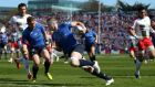 Leinster's Jamie Heaslip scores his first try in the Amlin Challenge Cup semi-final at the RDS.  Photograph: Dan Sheridan/Inpho