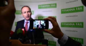 Fianna Fáil leader Micheál Martin speaking to media at the party's 74th Ard Fheis in the RDS today. Photograph: Alan Betson/The Irish Times