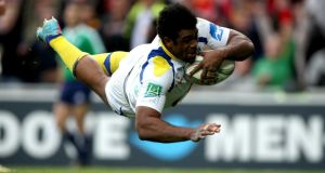 Clermont Auvergne's Napolioni Nalaga scores his side's try during the Heineken Cup semi-final at Stade de la Mosson in  Montpellier. Photograph:  Billy Stickland/Inpho