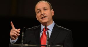 Micheál Martin addressing Fianna Fáil's 74th ardfheis at the RDS in Dublin. Photograph: Alan Betson/The Irish Times