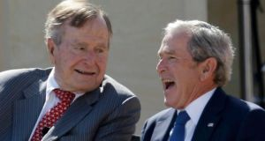 Former US presidents  George HW Bush (left) and George W Bush at the dedication of the George W Bush Presidential Centre on the campus of Southern Methodist University in Dallas, Texas, last Thursday.  Photograph: Reuters/Tony Gutierrez