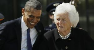 US president Barack Obama laughs with former first lady Barbara Bush during the dedication of the George W Bush Presidential Centre in Dallas, Texas, last Thursday. Photograph: AP Photo/David J. Phillip