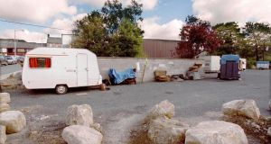 A Traveller caravan in Tullow, Co Carlow. Photograph: David Sleator