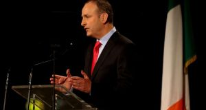 Fianna Fáil leader Micheál Martin addresses the party's ardfheis at the RDS in Dublin on Saturday. Photograph: Niall Carson/PA Wire