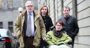 Marie Fleming with her partner Tom Curran (left), daughter Corrinna Moore and family friend Brendan Gainey at the High Court after losing her case challenging the absolute ban on assisted suicide earlier this year. Photograph: Alan Betson/The Irish  Times