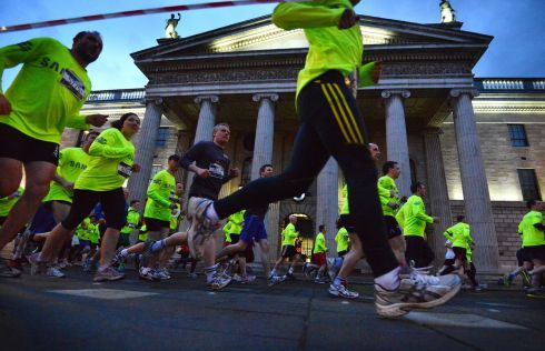 Running through traffic free streets taking in some of the city's most iconic and historical landmarks. Photograph: Alan Betson/The Irish Times