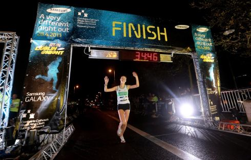 Aoife Talty celebrates winning the women's race. Photograph: INPHO/James Crombie