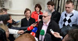 Tom Curran, partner of Marie Fleming speaking to reporters at the High Court earlier. Photograph: Cyril Byrne / THE IRISH TIMES