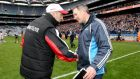 Tyrone manager Mickey Harte and Dublin manager Jim Gavin after Sunday's Allianz Division One League final. Photograph: Inpho