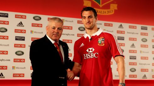 Sam Warburton (R) The British and Irish Lions Captain shakes hands with Warren Gatland, head coach, during the 2013 British and Irish Lions tour squad and captain announcement in London. Photograph: Paul Gilham/Getty Images