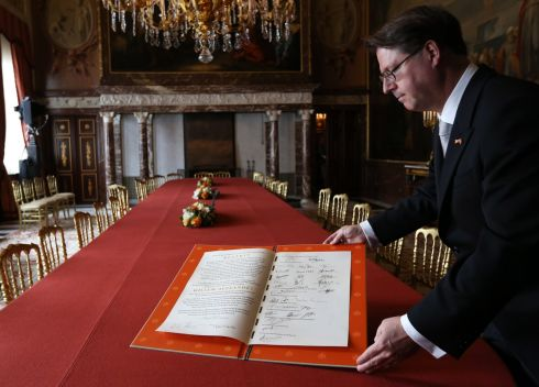 The Document of Abdication is displayed after the abdication ceremony of Queen Beatrix of the Netherlands in the Moseszaal at the Royal Palace on April 30th, 2013 in Amsterdam. Photograph: Bart Maat - Pool/Getty Images