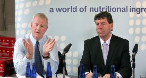 Glanbia group managing director John Moloney left, and chairman of Glanbia Ingredients Ireland Liam Herlihy. Photo: Matt Kavanagh/The Irish Times