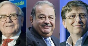 Three of the world's richest men, according to Forbes magazine's annual list of billionaires worldwide: Warren Buffett, Carlos Slim and Bill Gates.