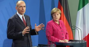 German Chancellor Angela Merkel and Italian Prime Minister Enrico Letta. Photograph: Sean Gallup/Getty Images