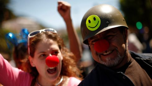 Protesters take part in a May Day demonstration on  in Malaga, southern Spain today. Photograph: Reuters