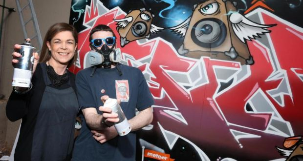Lisa Comerford Meteors Head Of Brand And Communications With Graffiti Artist Omin At His