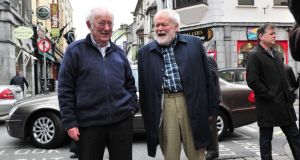Seamus Heaney and Michael Longley at Cúirt. Photograph: Boyd Challenger