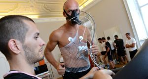 Athletes using breath analysis in a sports- performance laboratory in Italy. Researchers in DCU have developed a device  that could identify diseases simply by a patient blowing into them.Photograph: Tullio M Puglia/Getty Images