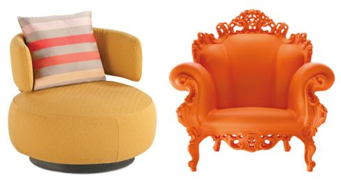 Left: Silhouette chair in fabric, €1,630, Roche Bobois. Right: Orange Magis Proust chair from €677, Lost Weekend