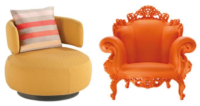 Left: Silhouette Chair In Fabric, U20ac1,630, Roche Bobois. Right: Orange