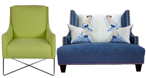 Left: Lime green Italsofa chair with crossbar base, €749, Arnotts. Right:  Blue Grace Kelly chair, £1,850, Sofa Design, sofadesign.co.uk.