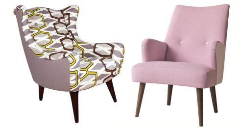 Left: Geometric print chair, €495, Rowell Design. Right: Gibson armchair by Designers Guild, €1,270, Aidan Cavey Design