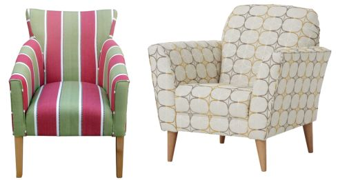 Left: Striped Irish-made Shaker chair, €790, Yours Personally, Dún Laoghaire. Right: Boyd armchair in Greta fabric, €523, Next Home