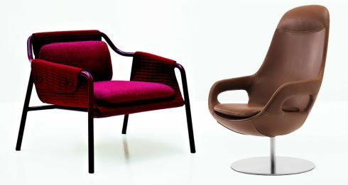 Left: Tacchini Jacket chair, €2,048, Bushell Interiors. Right:  Smartville leather chair, inspired by the Smart car, from €1,295. Bo Concept