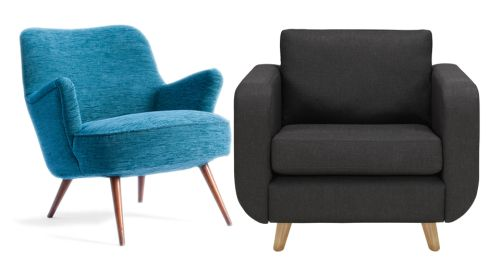 Left: Restored vintage cocktail chair, €685, Sofas and Chairs, sofasandchairs.ie. Right: Alfie chair, €795, Marks & Spencers