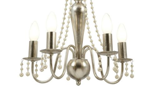 Pearly greys: This central chandelier (37cm by 41cm) with grey pearlescent finish and strings of draping pearls is reduced from €246.75 to €135 at National Lighting, (01-7099070. nationallighting.ie), Western Retail Park, Knockmitten Lane, Dublin 12.