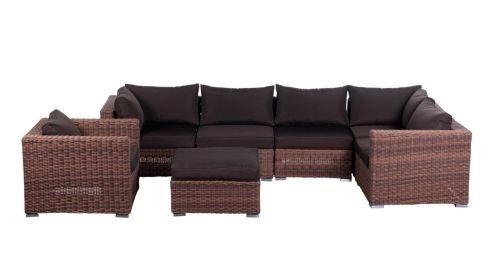 Wicker treat: This Minnesota wicker modular corner unit (below) is perfect for a conservatory or sheltered suntrap. Comprised of five pieces that make up the L-shaped sofa; a separate armchair and footstool; and brown upholstered cushions, it is half price at €1,499 from Outdoor Living (outdoorfurniture.ie) at the National Garden Exhibition Centre in Kilquade, Co Wicklow.