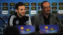 Juan Mata and  Chelsea manager Rafa Benitez at yesterday's pre-match press conference in London.  Photo: Chris Lee/Getty Images