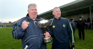 Leitrim's joint managers Brian Breen and George Dugdale celebrate winning the FBD Football League final at Markievicz Park, Sligo, in January. Photograph: Inpho
