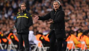 Jose Mourinho makes his point on Tuesday night.