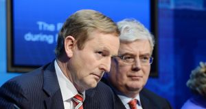 Taoiseach Enda Kenny and Tanaiste Eamon Gilmore speaking to media after the publication of heads of Bills in the Protection of Life during Pregnancy Bill 2013 , at Government Buildings. Photograph: Alan Betson