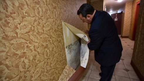 Stephen Elbaz, of Esquire Management, reveals mold behind vinyl wall paper in a co-op building, which was damaged during Hurricane Sandy. Photograph: Uli Seit/The New York Times