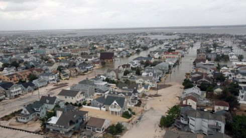 Aerial views shows the damage caused by Hurricane Sandy to the New Jersey coast taken during a search and rescue mission by 1-150 Assault Helicopter Battalion, New Jersey Army National Guard. Photograph: Mark C. Olsen/US Air Force/Handout/Files/Reuters