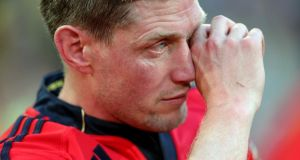A tearful  Ronan O'Gara after Munster's Heineken Cup semi-final defeat to Clermont last Saturday. Photograph: Inpho