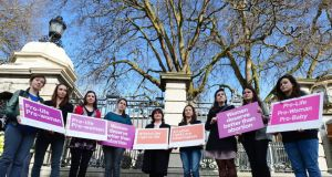 Members of the Pro-Life Campaign in a protest outside the Dáil this week. Photograph: Alan Betson