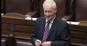 Dinny McGinley, Fine Gael TD, speaking in the Dáil yesterday. Photograph: Leinster House Television