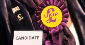 A UKIP candidate's rosette during the local elections count at Oaklands Snooker Club in Cinderford, Gloucestershire for the Gloucestershire districts. Photograph: Tim Ireland/PA Wire