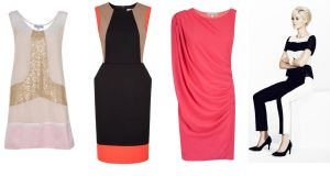 Above, left to right: sequinned dress (€125), by Jovanna at divine.ie;  colour block shift dress (€185), by Fenn Wright Manson at Kilkenny; coral red asymmetrical dress (€125), by Fran & Jane; top (€37.50), trousers (€60), shoes (€35) and bracelet (€13), at Marks & Spencer