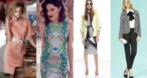 Above left to right:  belted dress (€250), by Fee G at Harvey Nichols;  floral dress (€45), by Gallery at Dunnes; jacket (€90), blouse (€33), sunglasses (€13), skirt (€25), and shoes (€67), at River Island; Red Herring stripe blazer (€70), pussy bow blouse (€47), cigarette pant (€39), shoes (€70), at Debenhams