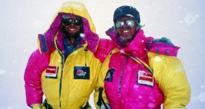 Dawson Stelfox (left) and   Frank Nugent at advance base camp after his successful ascent. Photograph: Brian Hayestaken